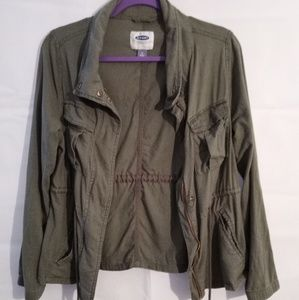 Old Navy Olive Green Military Style Linen Jacket